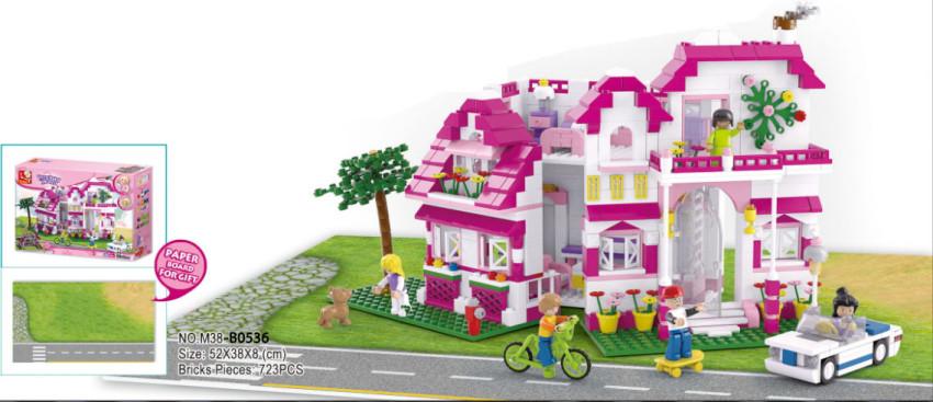 Конструктор Розовая мечта: Загородный дом 726дет. (фигурки чел., собака