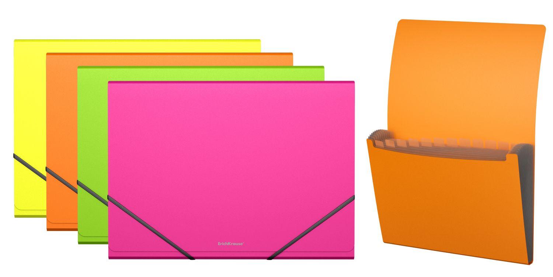 Папка на резинках А4 12отд EK Neon ассорти (картотека)