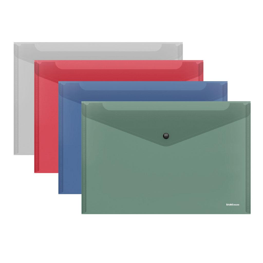 Папка-конверт А4 на кнопке EK Glossy Classic, полупрозрачная