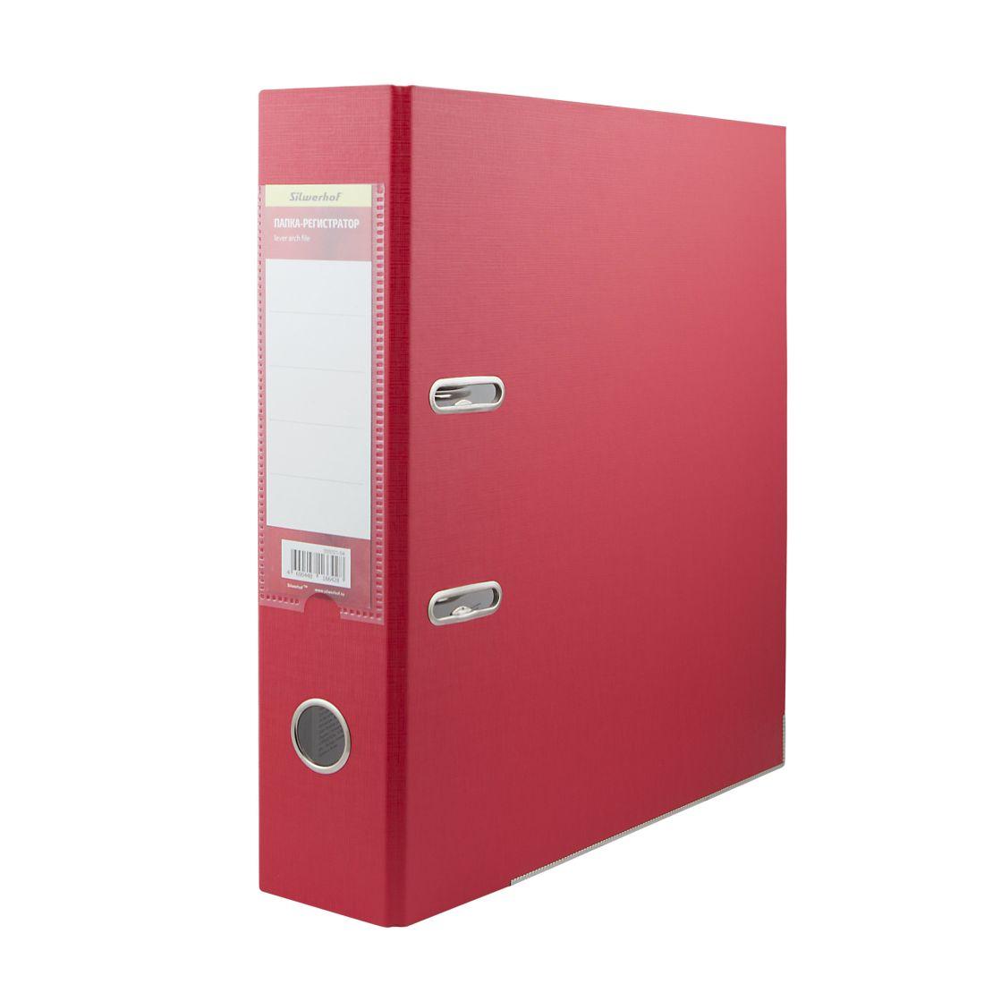 Папка-регистратор 75мм красный ПВХ/бумага мет.окант.