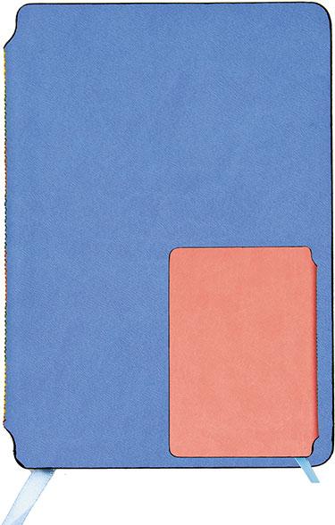 Зап. книжка А6 80л лин Голубой/коралловый кож/зам