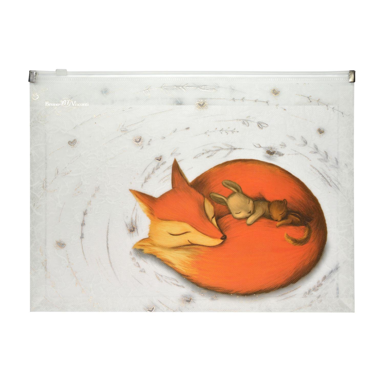 Папка на молнии А4 Zip Bruno Visconti Волшебные лисы
