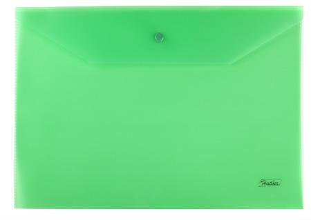 Папка-конверт А4 на кнопке Hatber Зеленая 180мкм