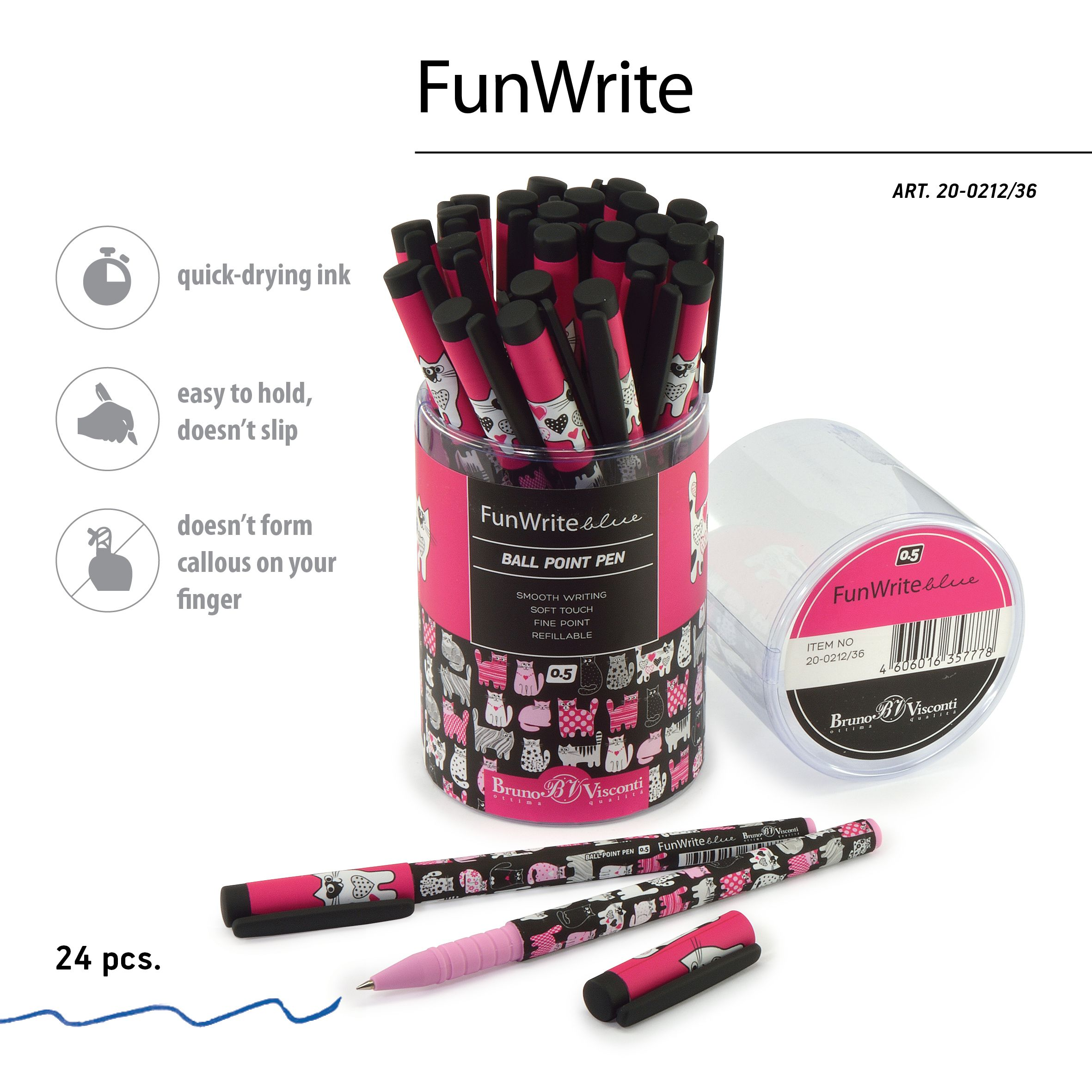 Ручка шариковая синяя BV FunWrite Розовые котята 2 0.5