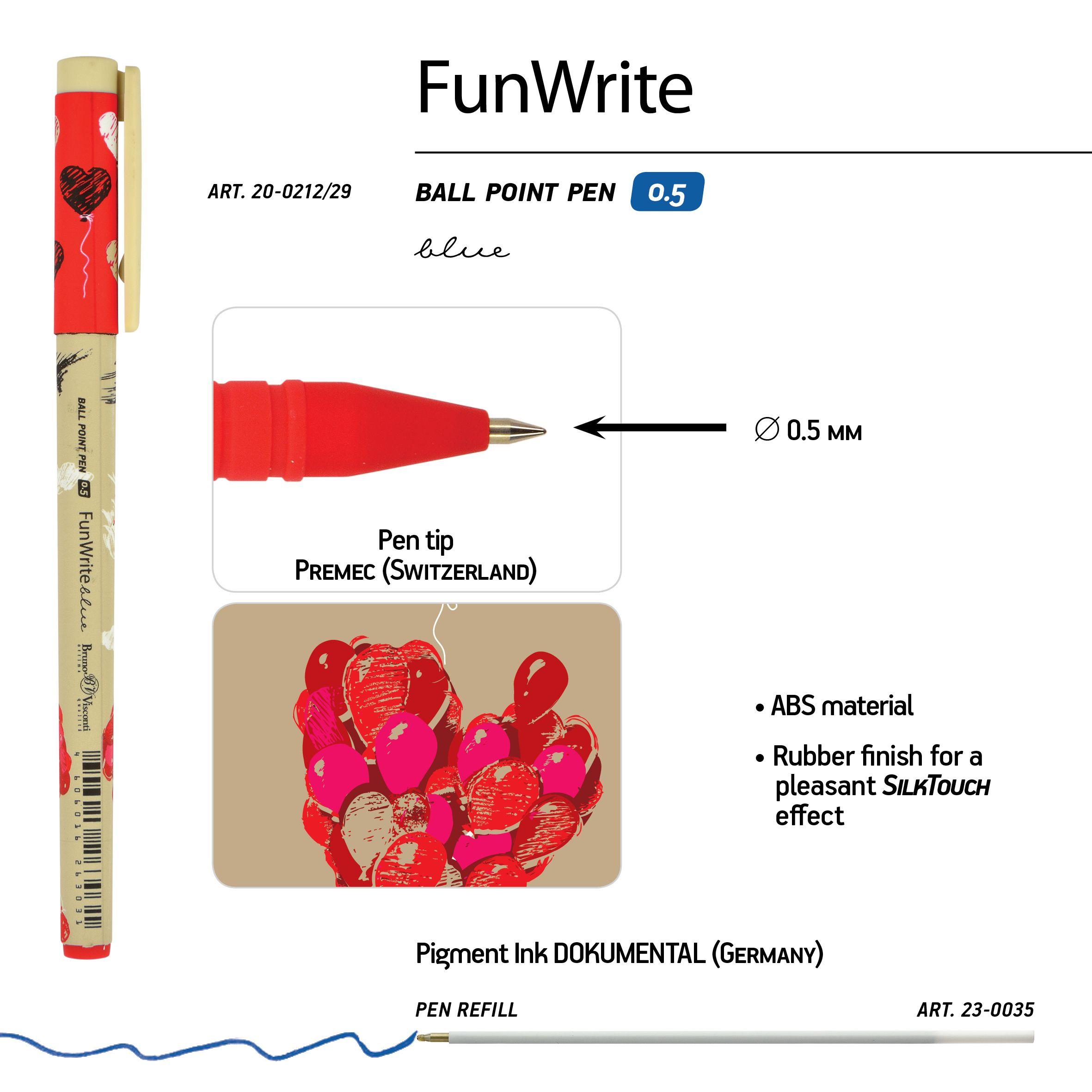 Ручка шариковая синяя BV FunWrite Романтика Крафт 0.5