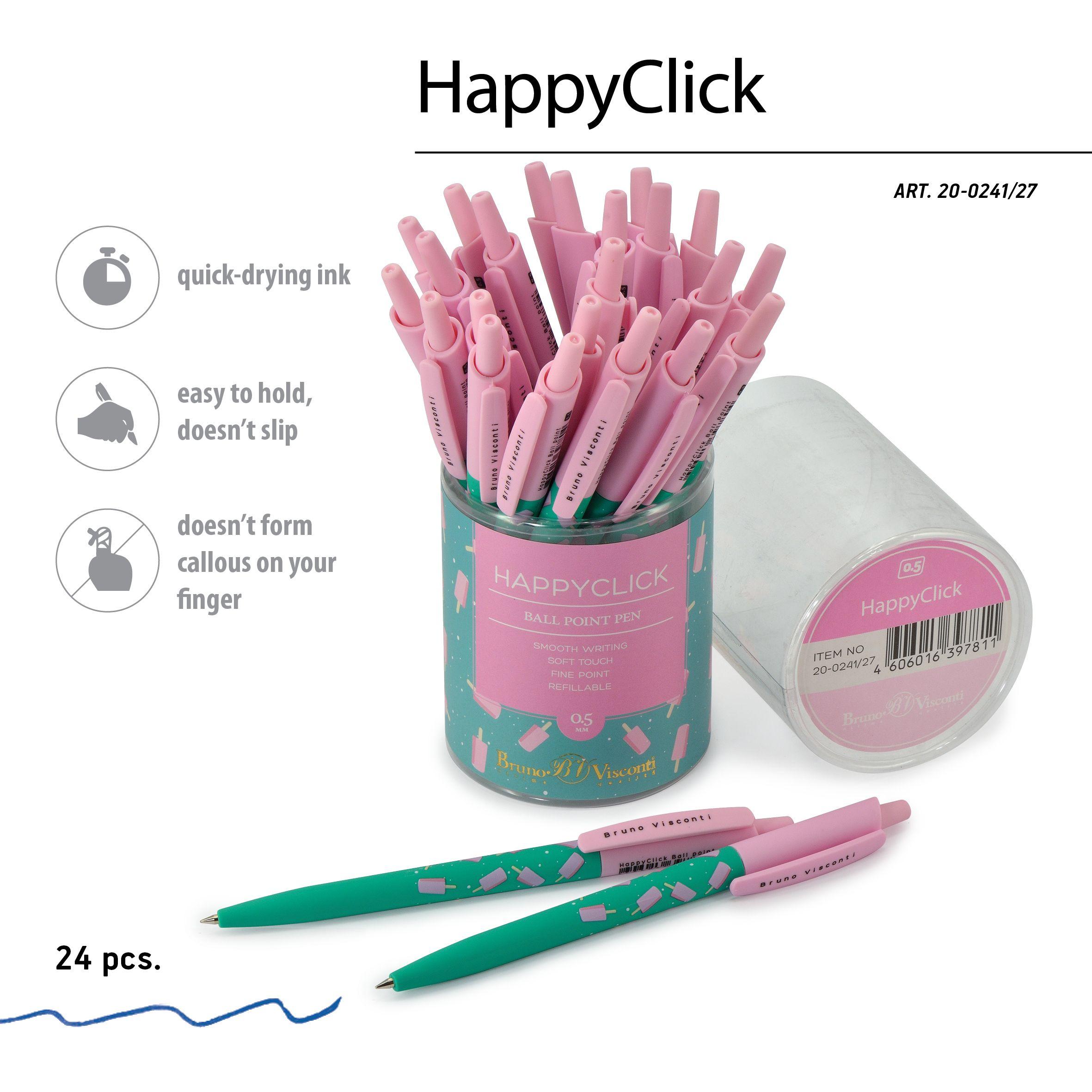 Ручка шариковая синяя BV HappyClick Эскимо 0.5 автомат