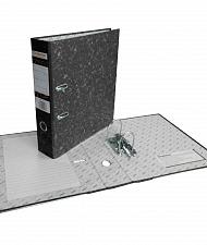 Папка-регистратор 50мм черный мрамор мет/окант