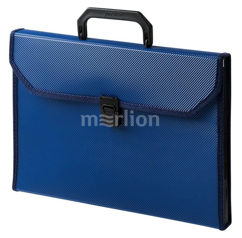 Портфель с ручкой 13отд Бюрократ пластик ребрист поверх синий