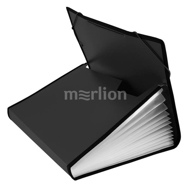 Папка на резинках A4 13отд Бюрократ 0,7мм черный с окантовкой