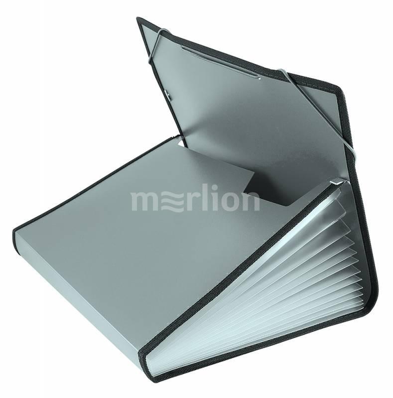 Папка на резинках A4 13отд Бюрократ 0,7мм серый с окантовкой