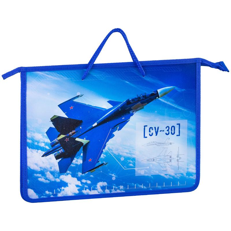 Сумка А4 пластик AS 1отд на молнии с ручками Военный самолет