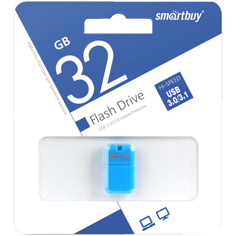 Флэш-карта USB 32GB 3.0 Smart Buy Art Flash Drive, синий