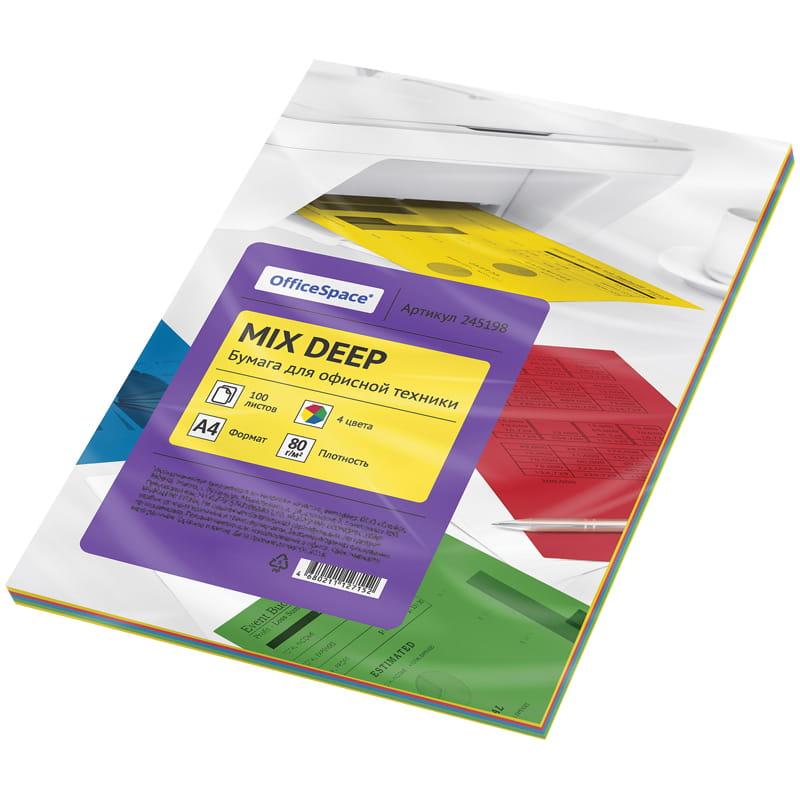 Бумага А4 цветная 100л mix 4цв deep 80г/м2