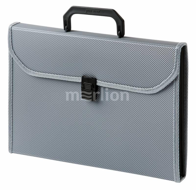 Портфель с ручкой 13отд Бюрократ пластик ребрист поверх серый