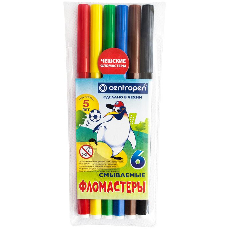 Фломастеры 6 цв Centropen Пингвины ПВХ
