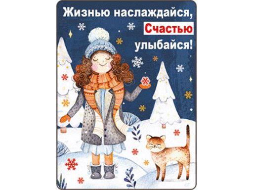 НГ Магнит 51.12.215 Жизнью наслаждайся.. винил 7*9 девочка и кот в лесу