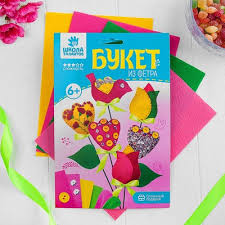 Творч Фетр Букет Тюльпаны + игла, нитки, лента