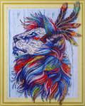 Алмазная картина 40*50 Алмазный лев 3D