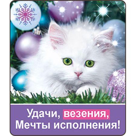 НГ Магнит 51.12.203 Удачи, везения.. винил 6*7 белый котенок