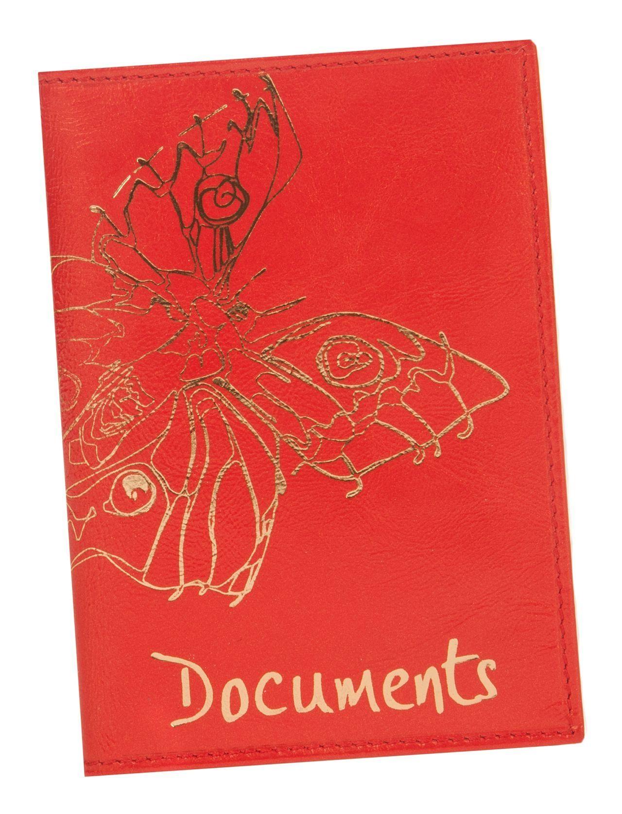 Обложка для автодокументов Constanta Красный бабочки нат. кожа