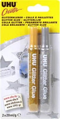 Краски-клей 2цв серебро/золото с блестками 20мл Creativ