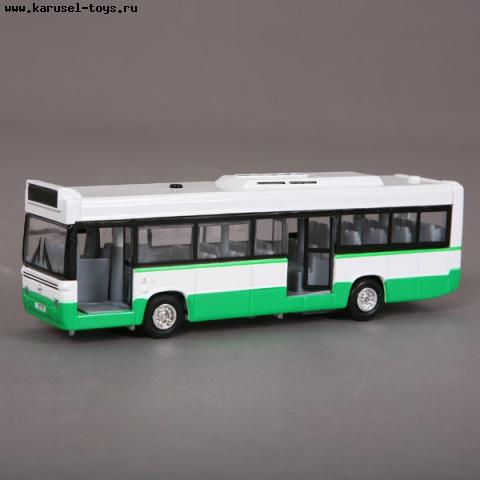 Машина Автобус 17 см. зеленый (свет, звук) металл