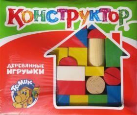 Конструктор Цветной 65 дет. дерев.