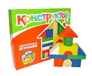 Конструктор Цветной 43 дет. деревян