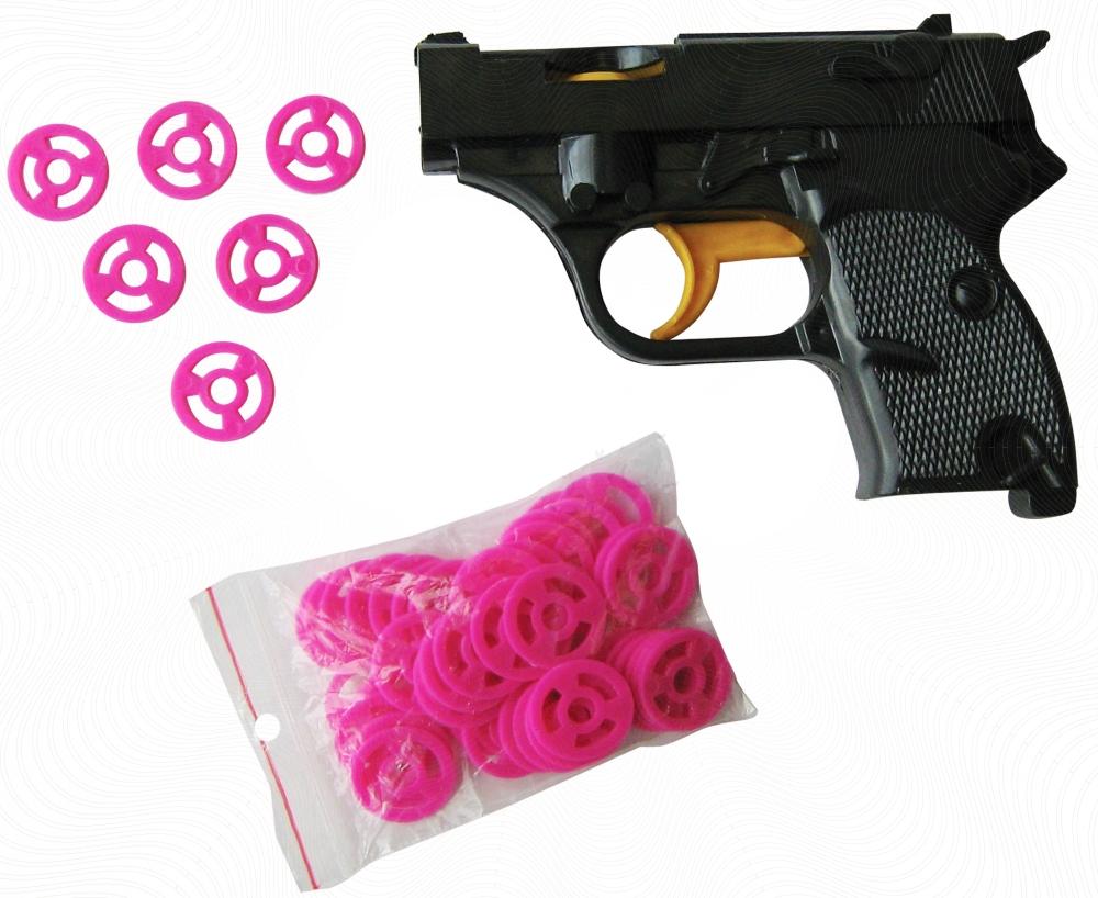 Пистолет с дисками пластмас.
