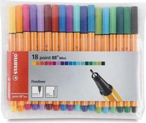 Ручки капиллярные 18 цв Stabilo (88 mini)
