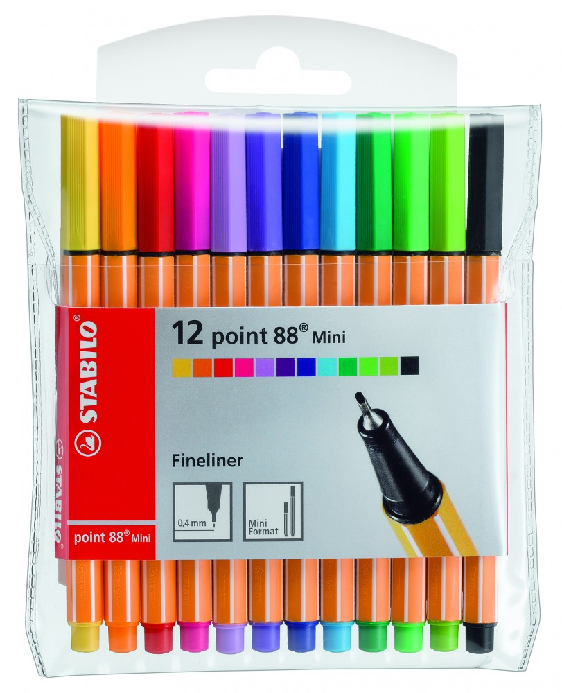 Ручки капиллярные 12 цв Stabilo (88 mini)