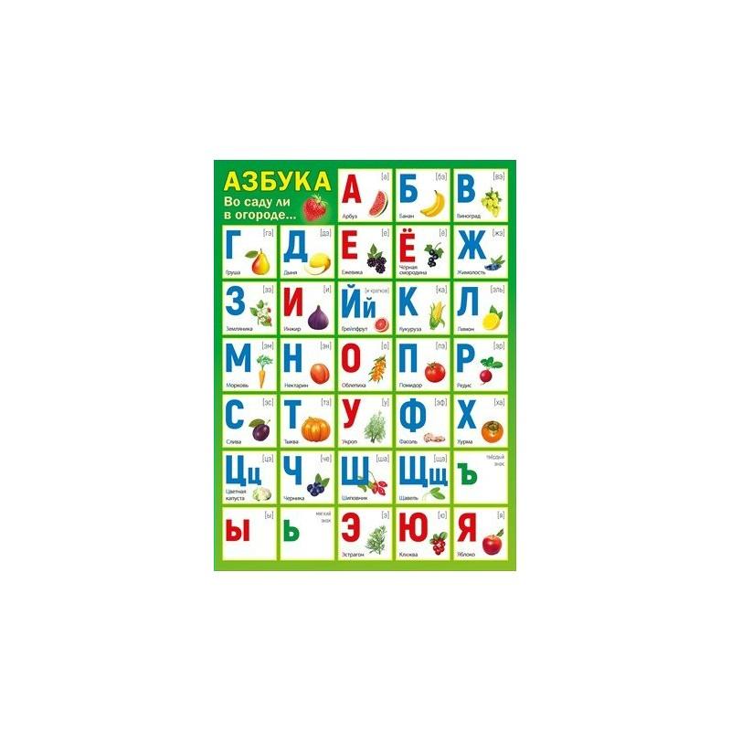 Плакат Азбука Во саду ли в огороде.. А2 вертик зеленый фон