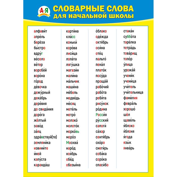 Плакат Словарные слова для начальной школы А2 вертик желтая рамка