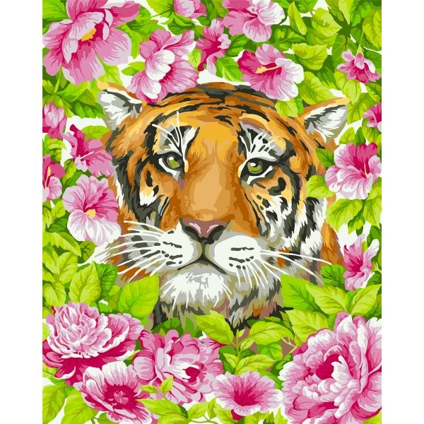 Творч Рисование по номерам 40Х50 Тигриная романтика