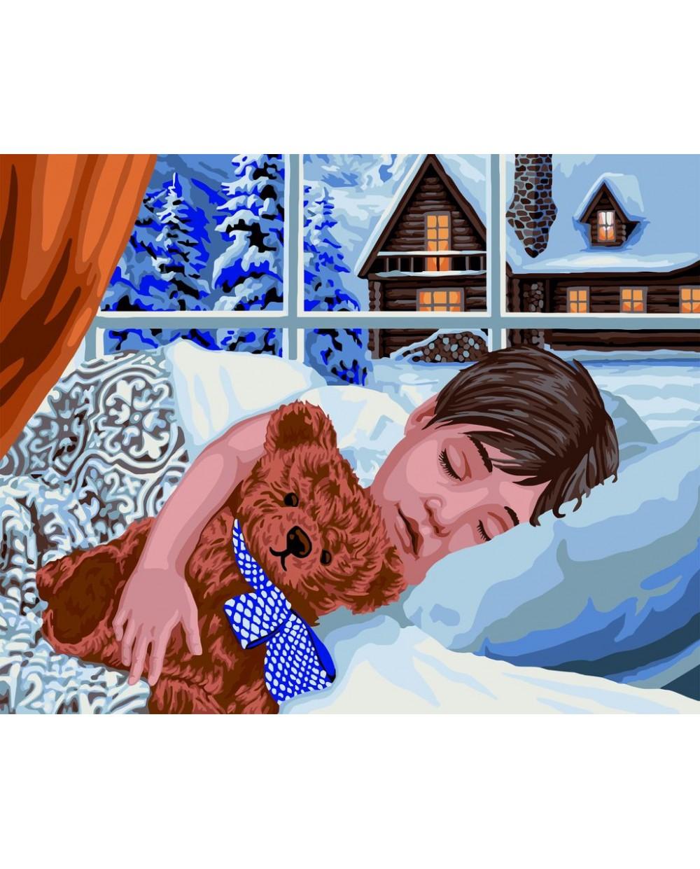 Рисование по номерам 40Х50 Зимний сон