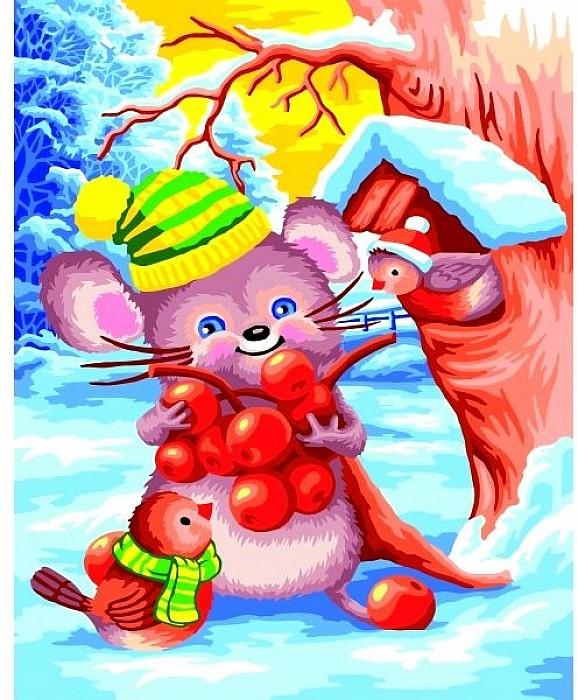 Рисование по номерам 40Х50 Счастливый мышонок
