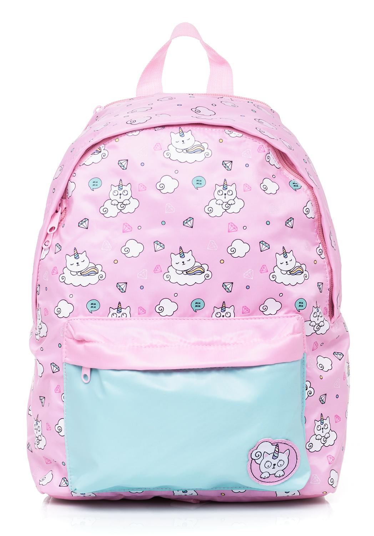 Рюкзак детский Hatber Кошки-Единорожки розовый с мятным (с капюшоном)