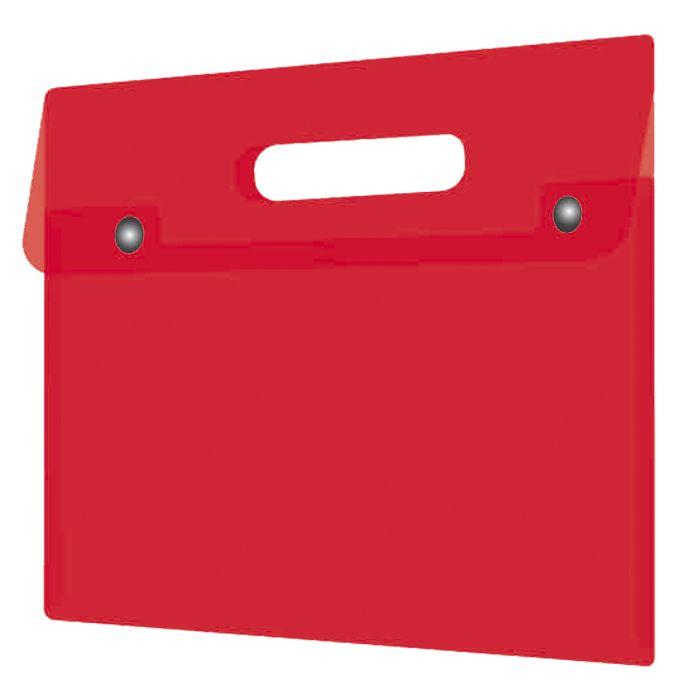 Папка на кнопке А4 красная с ручкой