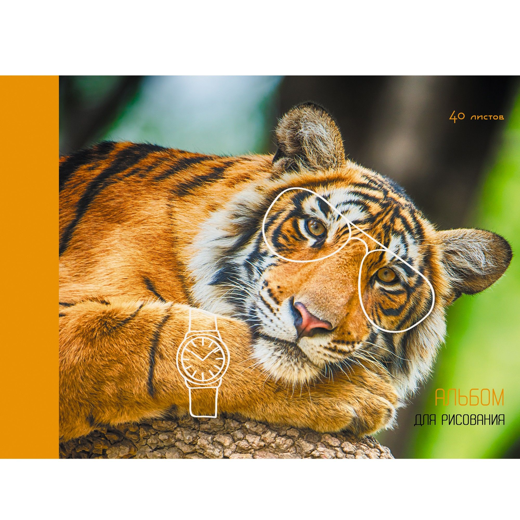 Альбом д/рис 40л Стильный тигр (склейка)