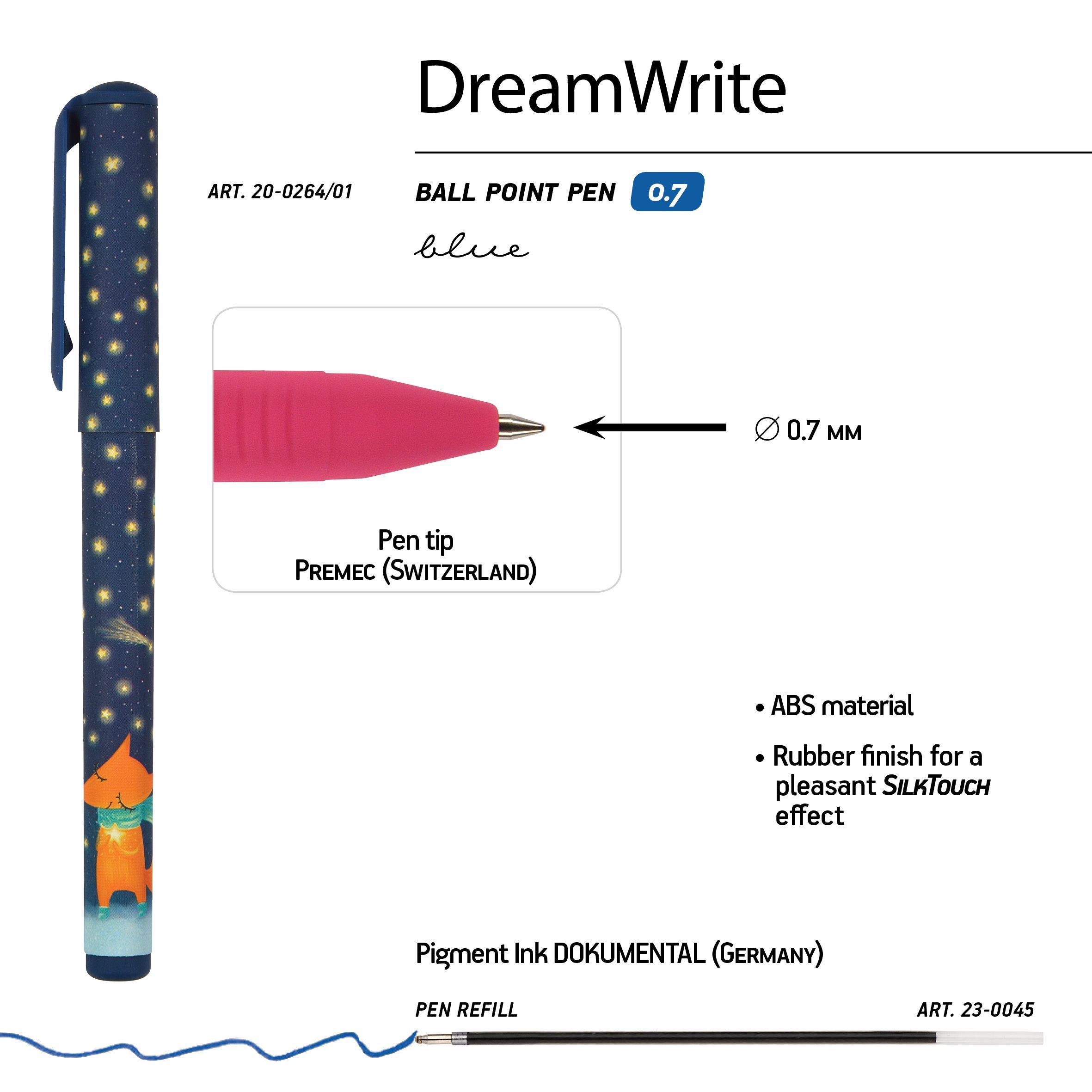 Ручка подар. BV синяя 0,7мм DreamWrite Лисята 3 вида