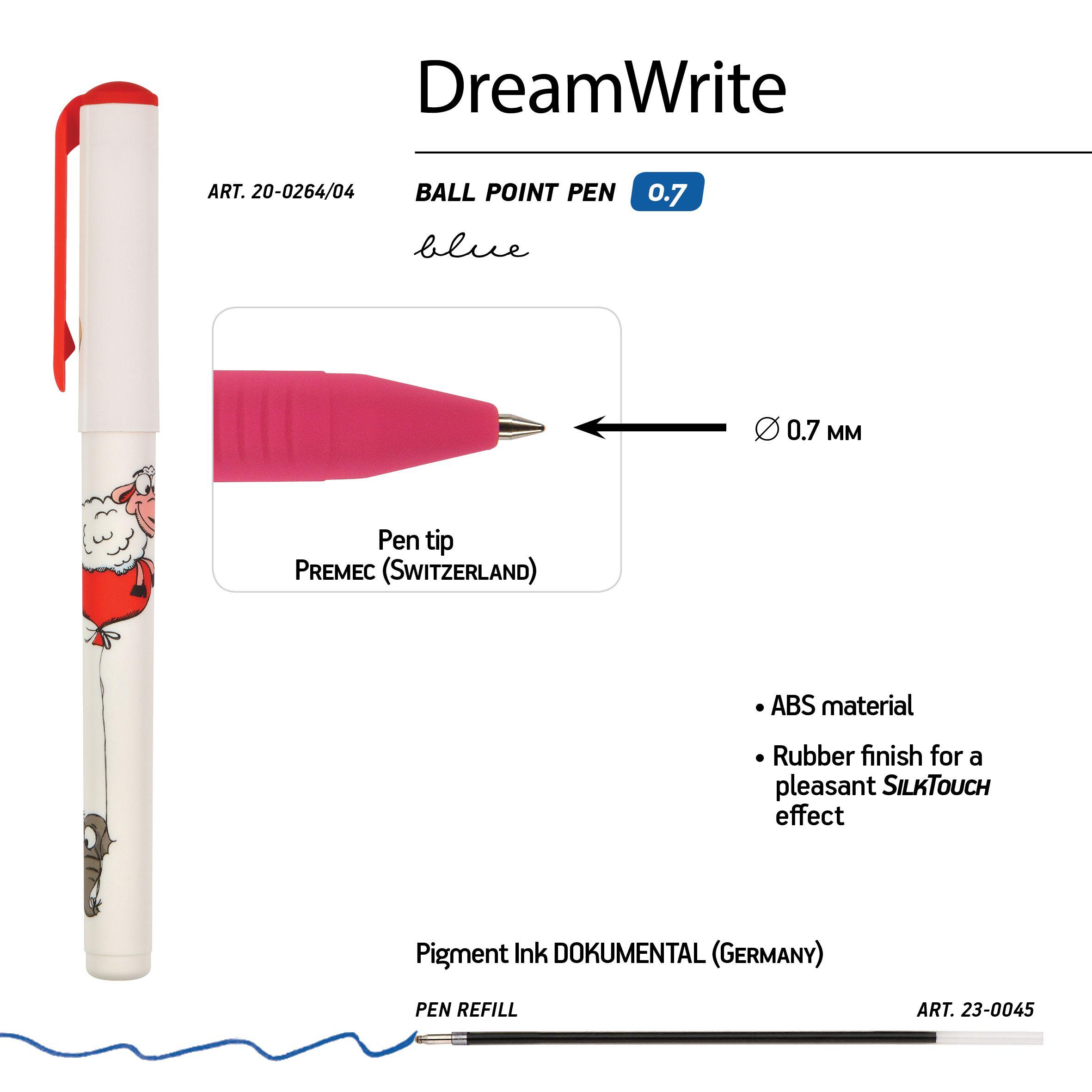Ручка подар шар BV DreamWrite синяя 0,7мм Мультяшные зверушки 3 вида