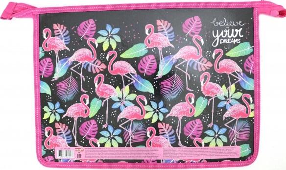 Папка для тетрадей А4 на молнии Спящие фламинго 1отд