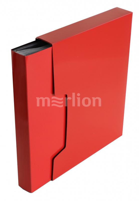Папка-файл А4 100л Бюрократ DeLuxe красный в коробе