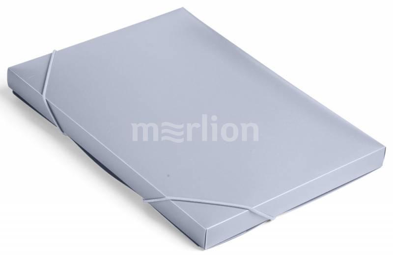 Папка на резинках А4 1отд Бюрократ 25мм серый
