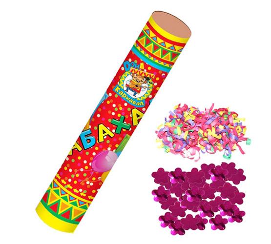 Праз Хлопушка 40см Бабахалка. Цветы (фольгир.) и серпантин (бумажный)