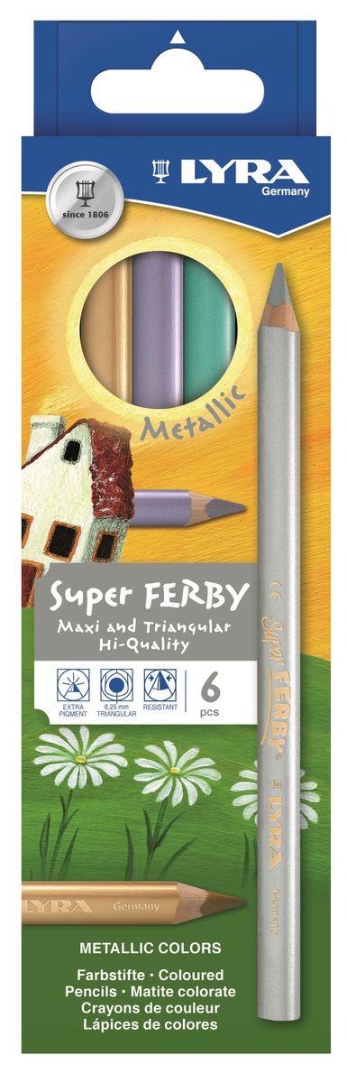 Карандаши цветные 6 цв Lyra Super Ferby треуг. мет/уп