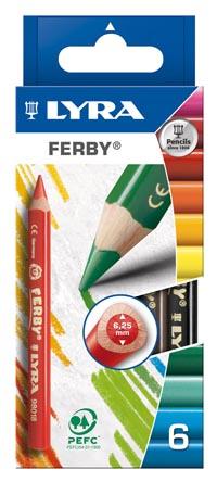 Карандаши цветные 6 цв Lyra Ferby 6,25мм высокопигментные