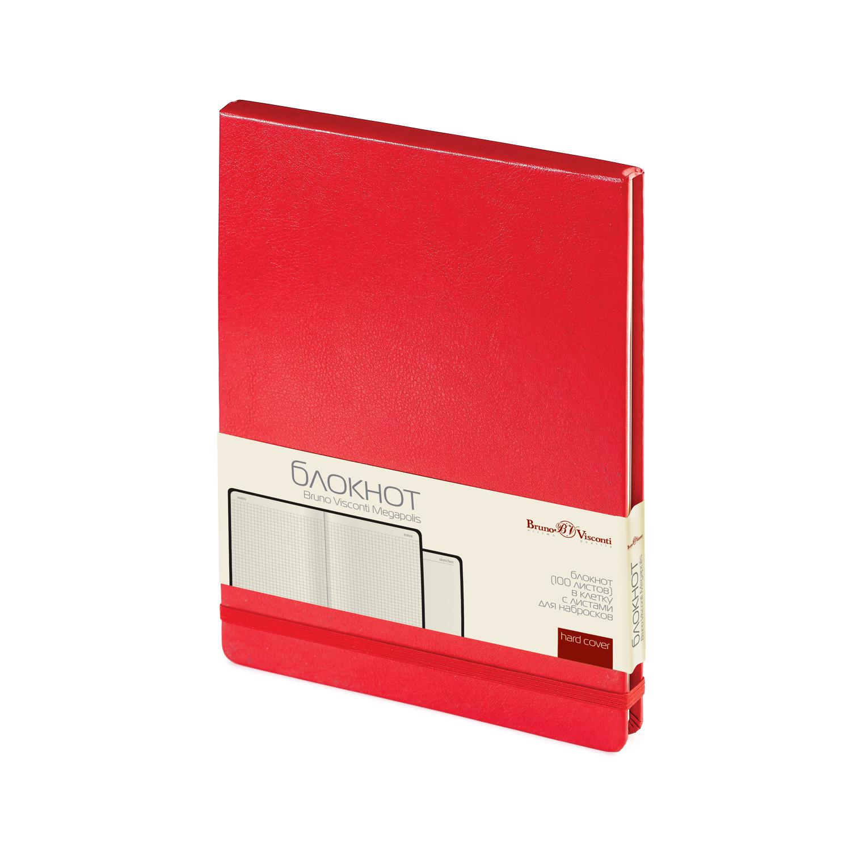 Блокнот А5 100л BV Megapolis красный на резинке
