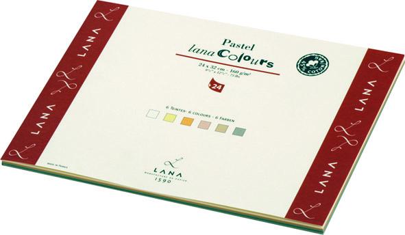 Бумага для пастели А4 24л 12цв LanaColours 160гр/м2 (45% хлопка)