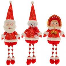 НГ Новогодняя игрушка мягк 18см Снеговик, Снегурочка, Дед Мороз